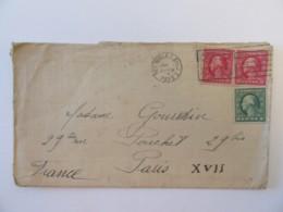 Etats-Unis / USA - Enveloppe New-York Vers Paris Circulée En 1923 - 3 Timbres 1 Et 2 Cents (paire) - Flamme - Vereinigte Staaten