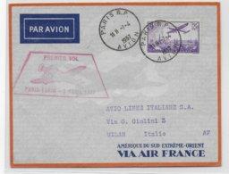 1937 - ENVELOPPE 1° VOL PARIS - TURIN (ITALIE) - Airmail