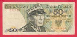 248163 / 1975 -  50  Zlotych - Karol Świerczewski Political Leader  , Banknotes Banknoten Billets Banconote , Poland - Poland