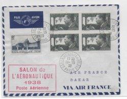 1938 - ENVELOPPE Du SALON De L'AERONAUTIQUE à PARIS => DAKAR (SENEGAL) - 1927-1959 Lettres & Documents