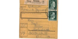 Allemagne  - Colis Postal  - Départ Kriewen  über Kosten ( Wartheland )  -   19-1-43 - Allemagne