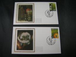 """BELG.1992 2486 & 2487 FDC's Soie/zijde( Landen ) : """" Zoo D'Antwerpen """" - FDC"""