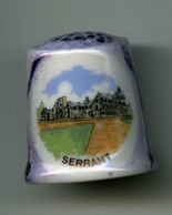 Dé à Coudre De Collection En Porcelaine - Serrant - Joli Dé Bleu Nacré - Dedales