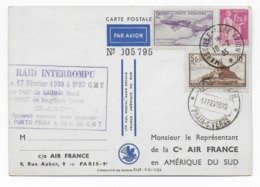 1935 - CARTE Par AVION AIR FRANCE => AMERIQUE Du SUD - RAID INTERROMPU => PORTO-PRAIA (CAP VERT) - 1927-1959 Lettres & Documents