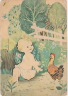 Illustrateur ? Bébé Avec Poule Edit CECAMI 1279 Imprimé En Italie - Baby's