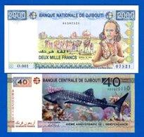 Djibouti  2  Billets  Neuf - Djibouti