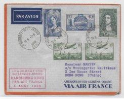 1938 - ENVELOPPE De BOURGET AVIATION - INAUGURATION SERVICE AERIEN HANOÏ à HONG-KONG (CHINE) CACHET ROUGE ! - Airmail