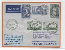 1938 - ENVELOPPE De BOURGET AVIATION - INAUGURATION SERVICE AERIEN HANOÏ à HONG-KONG (CHINE) CACHET BLEU ! - Premiers Vols