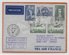 1938 - ENVELOPPE De BOURGET AVIATION - INAUGURATION SERVICE AERIEN HANOÏ à HONG-KONG (CHINE) CACHET VIOLET ! - Airmail