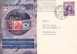 Tag Der Briefmarke 1938 Mit Zu: J86 / Mi: 332.  St. Gallerin. Briefmarkenausstellung Solothurn 10/11 Dez. 1938 - Pro Juventute