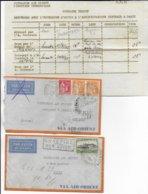 1933 - ENVELOPPES TEST (COURRIER TEMOIN) AIR ORIENT (AVEC RAPPORT RARE !!) ALLER-RETOUR PARIS => ATHENES (GRECE) - Postmark Collection (Covers)