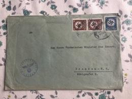 SCH571 Deutsches Reich 1940 Dienstbrie Von Flöha Mit Bahnpost Dresden - Reichenberg - Storia Postale