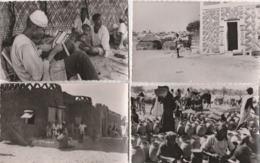 4 CPSM:NIGER ZINDER PORTE MUSULMANE,MARCHÉ POTERIES HAOUSSA,RUE DU VILLAGE ZENGOU,ATELIER DE BRODERIE AFRICAINE - Niger