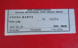 "X2- Bus Ticket -"" Panoniatrans - Severtrans ""- Odzaci,100 Dinara, Serbia,Yugoslavia - Europa"