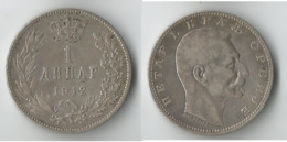 SERBIE 1 DINAR  1912    ARGENT - Serbie