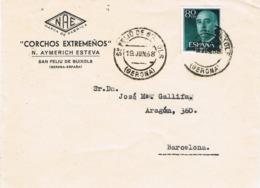 33860. Frontal Comercial SAN FELIU De GUIXOLS (Gerona) 1958. CORCHOS Extremeños - 1931-Aujourd'hui: II. République - ....Juan Carlos I