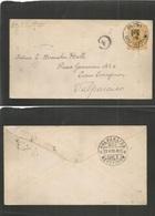 "PERU. 1899 (12 May) Callao - Valp (23 May) 10c Orange-yellow Stat Env, Cds + ""4"" In Ring Of Arrival. Calp Rare Postal Li - Peru"