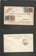 Chile - XX. 1930 (15 Dec) Viña Del Mar - Germany, Braunchweig. Air Multifkd Envelope + Salitre Stamp. Fine + Village Ori - Chile