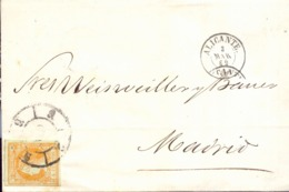Año 1860 Edifil 52 4c Isabel II Envuelta Matasellos  Rueda De Carreta Modificada 9 Alicante Membrete E. Kelly Y Cia - 1850-68 Royaume: Isabelle II