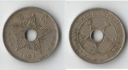 CONGO BELGE  5 CENT  1921 - Congo (Belge) & Ruanda-Urundi
