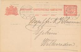 Nederlands Indië - 1910 - 5 Cent Cijfer, Briefkaart G21 Met KRAG Machinestempel Soerabaia Naar Weltevreden - Netherlands Indies