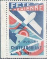 Aviation, Vignette Fete Aerienne De Chateaubriant 1931 - Erinnofilia