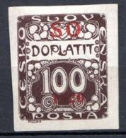 POLOGNE (SILESIE ORIENTALE) - 1920 -  Taxe - N° 9 - 100 H. Brun Foncé - (Timbre De Tchécoslovaquie) - Schlesien (Ober- Und Nieder-)
