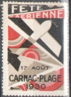 Aviation, Vignette Fete Aerienne De Carnac Plage 1930 - Erinnofilia