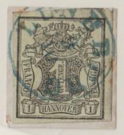 ALLEMAGNE HANOVRE 1850: Le Y&T 2, Superbe Oblitération  Bleue  'LÜNEBURG 9.10' Sur Fragment   LUXE !!! - Hannover