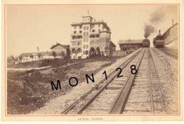 SUISSE LE RIGHI KALTBAD 1890 - TRAIN A CREMAILLERE - PHOTO A.GARCIN 15x10 Cms COLLEE SUR CARTON - Antiche (ante 1900)