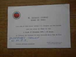 """Faire Part Assez Rare De M. Jacques Chirac , Maire De Paris """" En 1979 """" Pour Une Réception à L'hôtel De Ville - Faire-part"""
