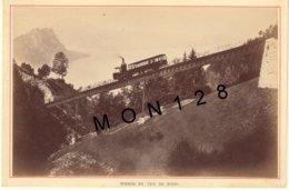 SUISSE LE RIGHI 1890 - CHEMIN DE FER -TRAIN A CREMAILLERE - PHOTO A.GARCIN 15x10 Cms COLLEE SUR CARTON - Photos