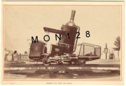 SUISSE LE RIGHI 1890 - CHEMIN DE FER -LOCOMOTIVE DU TRAIN A CREMAILLERE - PHOTO A.GARCIN 15x10 Cms COLLEE SUR CARTON - Antiche (ante 1900)