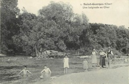 - Cher -ref-385- Saint Georges - St Georges  - Une Baignade Au Cher - Baigneurs - Carte Bon Etat - - Autres Communes