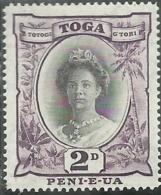 TONGA TOGA 1920 1935 QUEEN SALOTE REGINA PENCE 2p MNH - Tonga (...-1970)