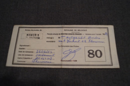 Originale Ancien Permis De Pêche,1974,bureau De Poste De Flawinne 5020 - Fischerei