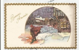 Mignonnette De Vœux. Bonne Année. Vigile Avec Lanterne Et Diligence à Cheval Dans Une Ville Enneigée. - Anno Nuovo
