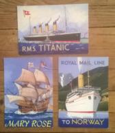 Lot De 3 Cartes Postales / Paquebots NORWAY TITANIC MARY ROSE / Santoro Graphics - Ferries