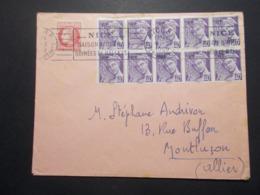 Marcophilie  Cachet Lettre Obliteration - Timbres - N°659 Bloc De 10 - NICE 1952 (2506) - Marcophilie (Lettres)