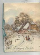Mignonnette De Vœux. Bonne Année. Village Et Passants Sous La Neige. Paillettes. - Neujahr