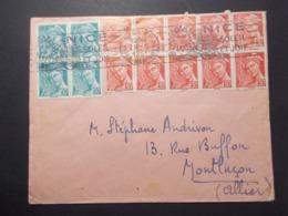 Marcophilie  Cachet Lettre Obliteration - Timbres - N°547 Bloc De 10 + 660 Bloc De 4 - NICE 1951 (2507) - Marcophilie (Lettres)