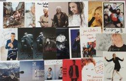 LOT DE 20 PHOTOS  DEDICACEES CHANTEURS & CHANTEUSES - Autogramme & Autographen