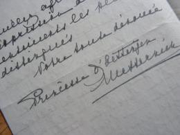 PRINCESSE Sophie METTERNICH OETTINGEN (1857-1941) Petite Fille PRINCE KLEMENS Von METTERNICH - Autographe - Autógrafos