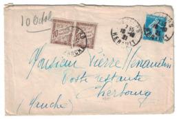 1921 - LETTRE TAXÉE Avec TIMBRE TAXE 10c X 2 Pr POSTE RESTANTE CAD De BEZIERS HERAULT CHERBOURG SEMEUSE 25c BLEU N° 140 - Postmark Collection (Covers)