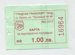 Ticket De Bus - Varna - Bulgarie Bulgaria Bulgarien - 2017 - Bus