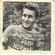JACQUES ANQUETIL - PHOTO PUBLICITAIRE 7X7 Cms BISCOTTES CLEMENT - DEDICACEE - Cyclisme