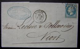 Marans 1867 Gc 2194 Simon Bonneau & Fils Ainé, Grains Chanvre Et Graines Oléagineuses, Lettre Pour Niort - Poststempel (Briefe)