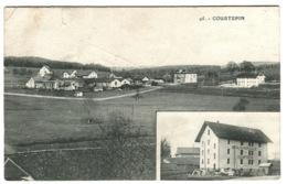 COURTEPIN Panorama Et Moulin Agricole Avec Cachet Linéaire En Bleu + Ambulant No 9 1908 (petit Défaut En Haut) - FR Fribourg