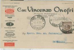 """""""CAV VINCENZO ONOFRI""""ROMA,C.P. PUBBLICITA FIUGGI.CHIANCIANO-FERRARELLE-1927-TIMBRO POSTE ROMA -SAN GEMINI (PERUGIA) - Pubblicitari"""