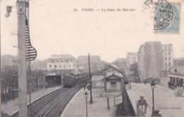 PARIS XII  Ligne De Petite Ceinture  TRAIN En GARE De BEL AIR  QUAIS Animés Timbre 1905 - Distretto: 12